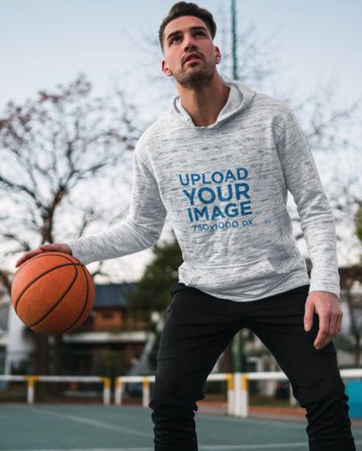 Mockup of a Basketball Player Wearing a Heathered Hoodie 40476-r-el2
