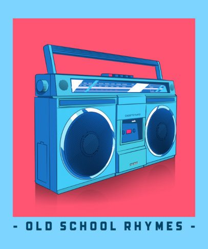 T-Shirt Design Template Featuring a Vintage Boombox Illustration 2798d