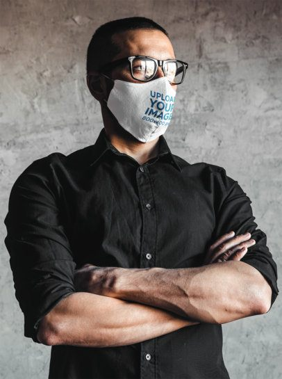 Face Mask Mockup of a Man Posing with His Arms Crossed 41807-r-el2