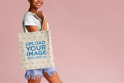 Cropped Face Mockup of a Woman with a Sublimated Tote Bag 41544-r-el2