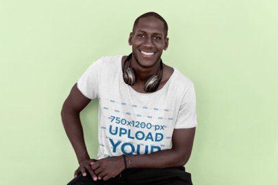 T-Shirt Mockup of a Man Wearing Headphones in a Studio 39152-r-el2