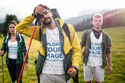 T-Shirt and Tank Top Mockup of a Group of Friends Hiking 42085-r-el2