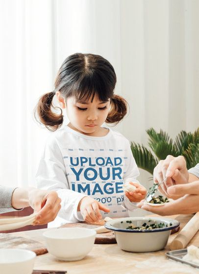 Long Sleeve Tee Mockup Featuring a Little Girl Cooking With Her Parents 41998-r-el2