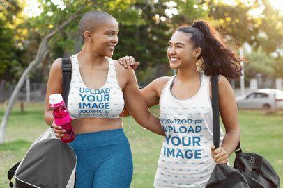 Tank Top & Sports Bra Mockup of  Two Women Walking to the Gym Tank Top & Sports Bra Mockup of  Two Women Walking to the Gym 35957-r-el2