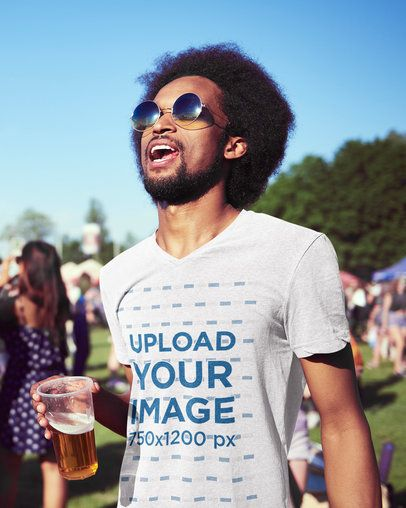 V-Neck T-Shirt Mockup of a Man at a Music Festival 39321-r-el2