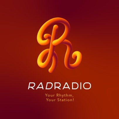 Online Logo Creator for a Radio Station Featuring a Colorful Handwritten Letter 3613j