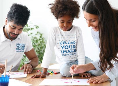 Long Sleeve Tee and Polo Shirt Mockup of a Girl Painting Watercolors with Her Family 41869-r-el2