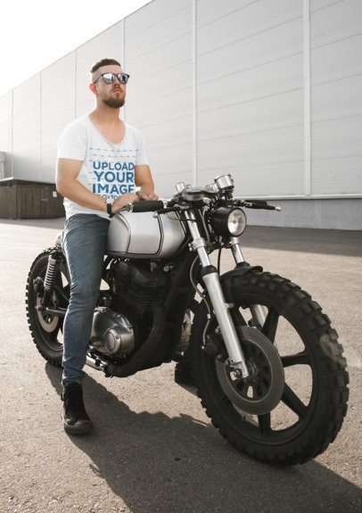 Mockup of a Bearded Man Wearing a Heather T-Shirt While Sitting on His Motorbike 41679-r-el2