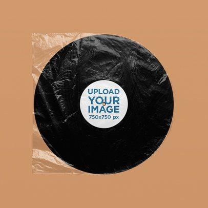 Minimal Mockup of a Vinyl Record Inside a Plastic Bag 4958-el1
