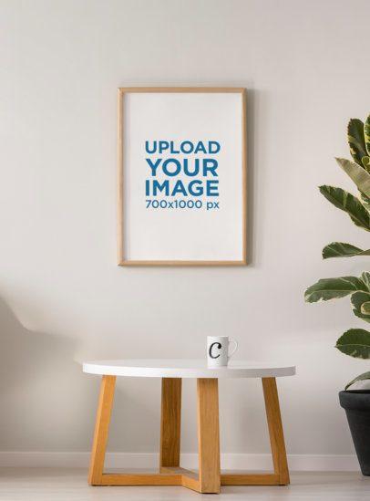 Art Print Mockup Featuring a Minimalist Coffee Table 36337-r-el2
