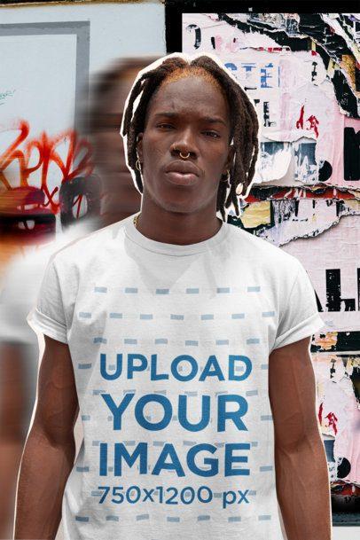 T-Shirt Mockup Featuring a Man Posing at an Urban Scenery 42541