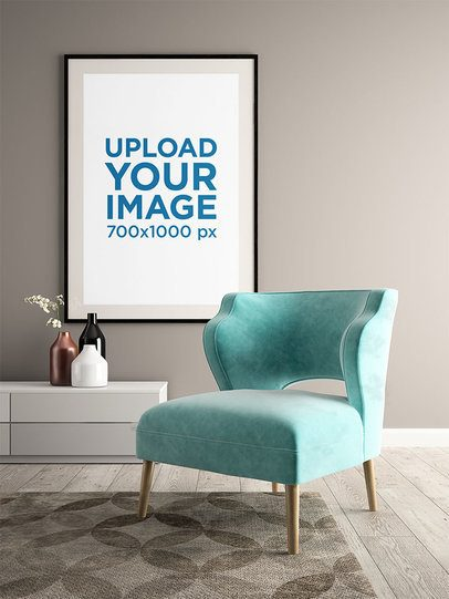 Mockup of a Decorating Art Print in a Living Room 36062-r-el2