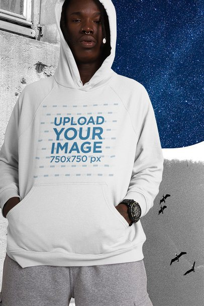 Mockup of a Man Wearing a Hoodie Featuring a Collage Background 42553