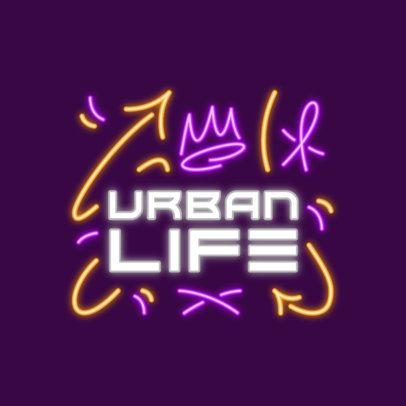 Music Logo Template Featuring Graffiti-Style Neon Graphics 3633k