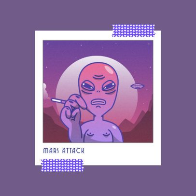 Album Cover Maker with a Lo-Fi Aesthetic Featuring an Alien 3644e