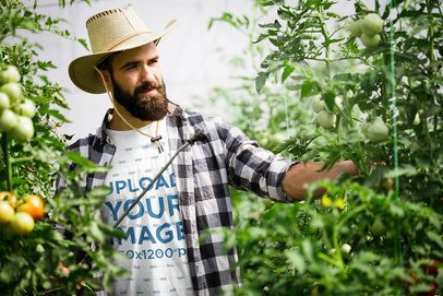 T-Shirt Mockup Featuring a Bearded Farmer in a Tomato Plantation 40657-rel2