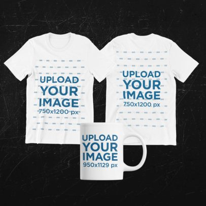 Merch Bundle Mockup Featuring Two Round Neck Tees and an 11 oz Mug 43332-r-el2