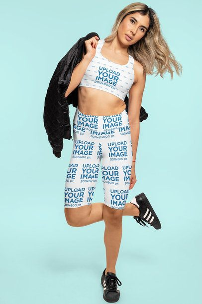 Mockup of a Woman Modeling a Sports Outfit of Bike Shorts and a Sports Bra 42335