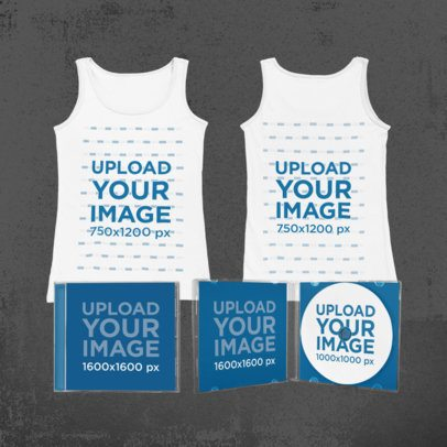 Merch Bundle Mockup Featuring CD Cases and a Both Sides-View Tank Top 43402-r-el2