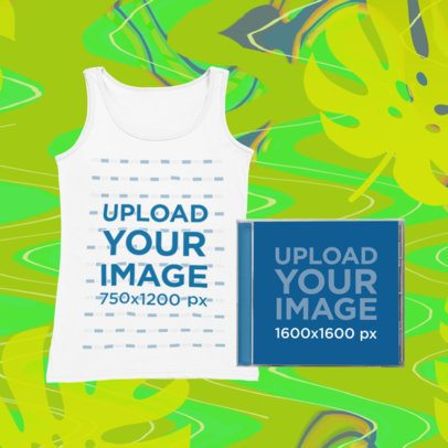 Merch Bundle Mockup of a Tank Top and a CD Case Against a Psychedelic Background 43395-r-el2