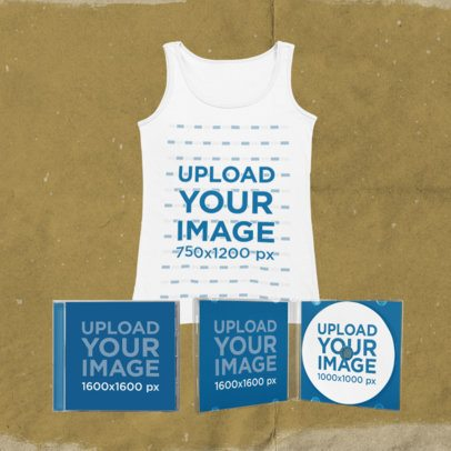 Merch Bundle Mockup Featuring a Round Neck Tank Top with Two CD Cases 43396-r-el2