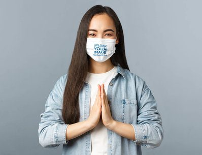 Face Mask Mockup of a Woman Praying 42856-r-el2