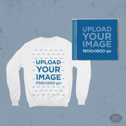 Merch Bundle Mockup Featuring a Sweatshirt and a CD Case 43416-r-el2