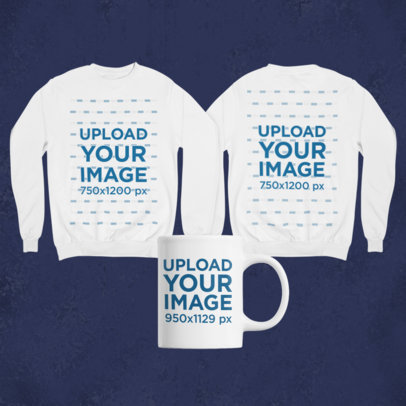 Mockup of a Merch Bundle Featuring Two Sweatshirts and an 11 oz Coffee Mug 43420-r-el2