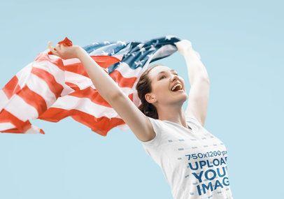 T-Shirt Mockup of a Happy Woman Waving an American Flag 42251-r-el2