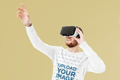 Long Sleeve Tee Mockup of a Man Playing a Virtual Reality Game 42589-r-el2
