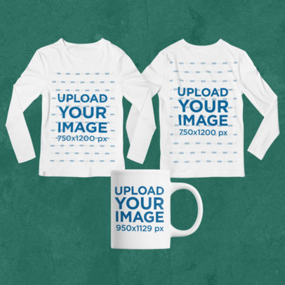 Merch Bundle Mockup of Two Long Sleeve Tees and an 11 oz Mug 43366-r-el2