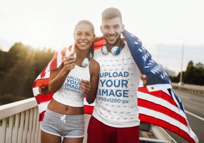 T-Shirt and Tank Top Mockup Featuring Two Friends Posing With an American Flag 42264-r-el2