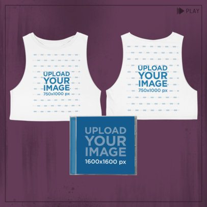 Merch Bundle Mockup Featuring Two Sides of a Crop Top Tank Top and a Cd Jewel Case 43411-r-el2