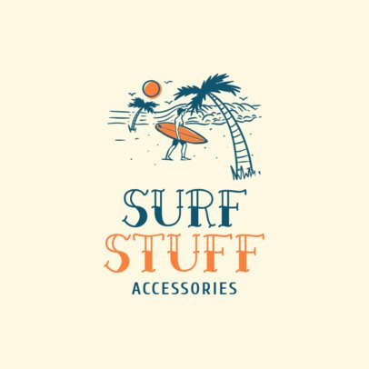 Free Logo Generator for a Surf Apparel Brand Featuring a Tropical Beach Illustration 3695g