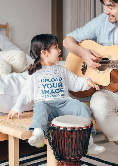 Long Sleeve Tee Mockup Featuring a Little Girl Having Fun With Her Dad 41868-r-el2