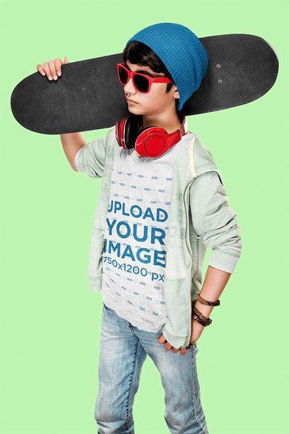 T-Shirt Mockup of a Cool Kid in a Studio 43442-r-el2