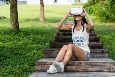 Tank Top Mockup of a Woman Using a VR Device at a Park 42297-r-el2