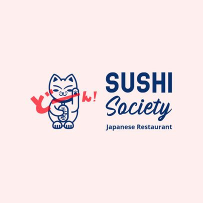 Logo Creator for a Sushi Restaurant Featuring a Lucky Cat Clipart 3696c