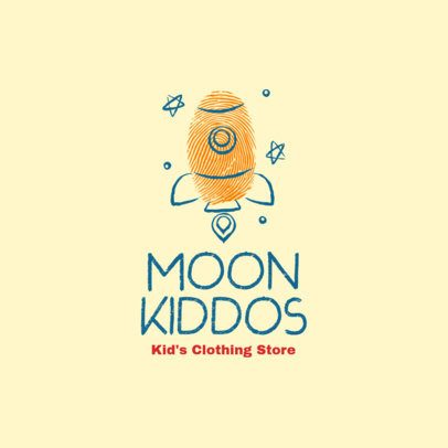 Illustrated Logo Creator with a Rocket Clipart for a Kids' Clothing Brand 3696r