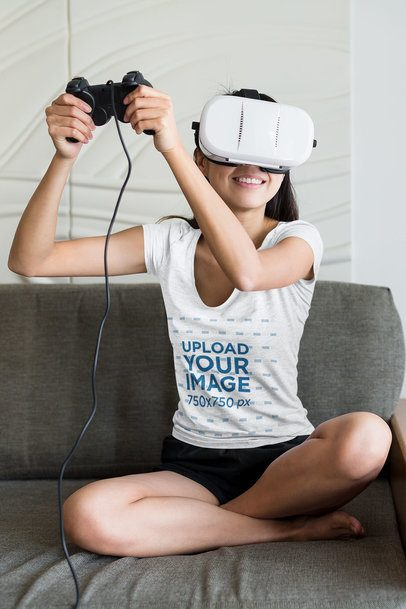 T-Shirt Mockup of a Woman Playing a VR Video Game at Home 42281-r-el2