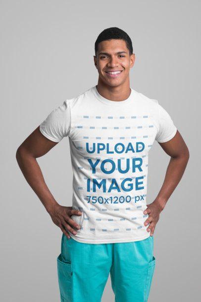 T-Shirt Mockup of a Happy Male Nurse in a Studio 27466