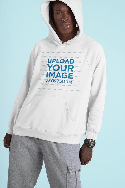 Studio Mockup of a Man Wearing a Hoodie and a Nose Piercing 42981