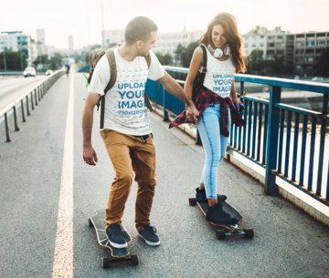 T-Shirt and Tank Top Mockup Featuring a Happy Couple Skating 43343-r-el2