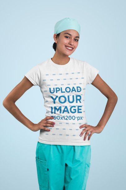 Mockup of a Smiling Nurse Wearing a T-Shirt 27478