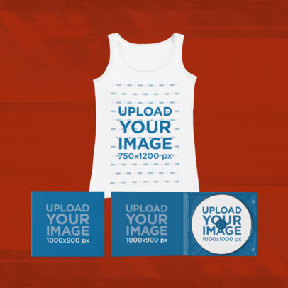 Merch Bundle Mockup of a Scoop Neck Tank Top and Two Digipaks 43398-r-el2