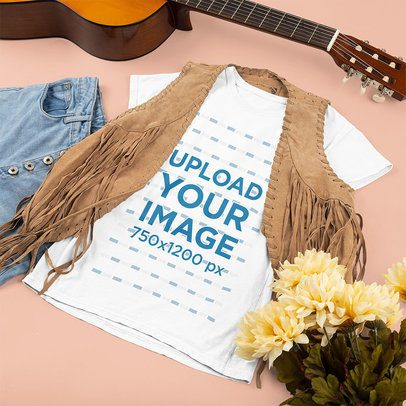 T-Shirt Mockup Featuring a Hippie Outfit and a Guitar 43294