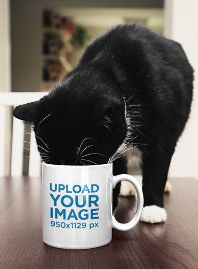 Mockup of a Cat Drinking from an 11 oz Coffee Mug 43577-r-el2