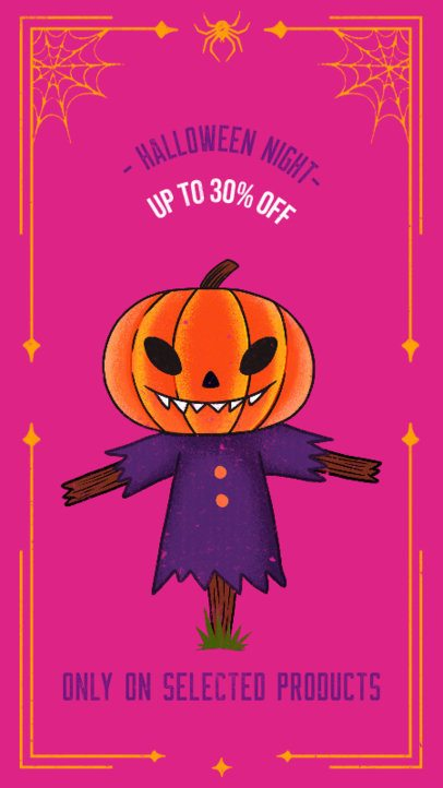 Halloween Instagram Story Design Generator Featuring a Pumpkin Scarecrow Illustration 2965e