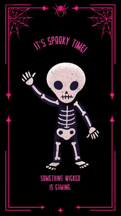 Halloween-Themed Instagram Story Design Template Featuring a Cute Skeleton Graphic 2965f
