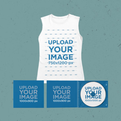 Merch Bundle Mockup Including a Sleeveless Tee and Two Digipaks 43387-r-el2